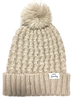 Women's Coops Beanie Cable Knit Bobble Hat in Oatmeal Marl – Tokyo Laundry
