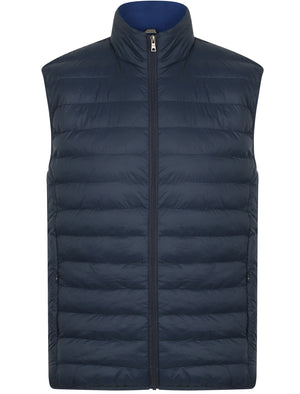 Couloir Quilted Puffer Gilet with Fleece Lined Collar in Midnight Blue – Tokyo Laundry