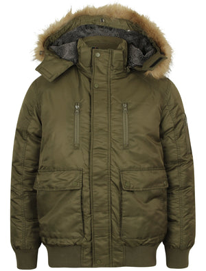 Creswick Padded Coat with Detachable Faux Fur Hood in Khaki – Tokyo Laundry