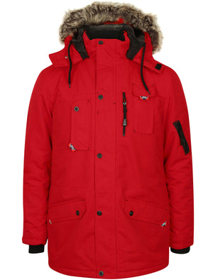 Dawson Utility Parka Coat with Fur Lined Hood in Red – Tokyo Laundry