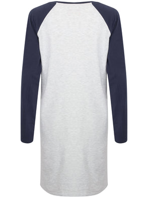 Delilah Raglan Long Sleeve Nightie in Ice Grey Marl - Tokyo Laundry