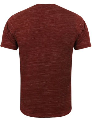 Delmarva Space Dye V Neck T Shirt in Oxblood / Ivory - Tokyo Laundry