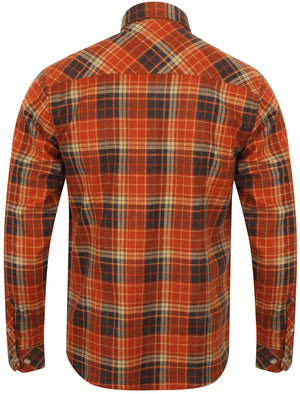 Denshaw Checked Cotton Flannel Shirt In Deep Rust – Tokyo Laundry