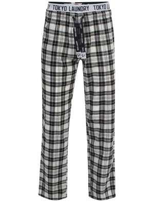 Men's printed drawcord checked black lounge bottoms - Tokyo Laundry