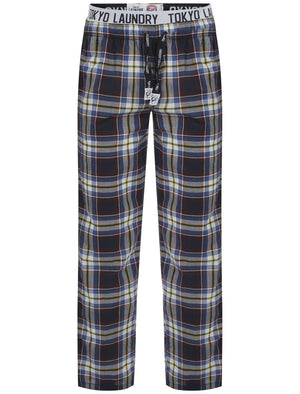 Men's printed drawcord checked cobalt lounge bottoms - Tokyo Laundry
