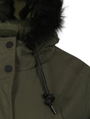 Dinah Fur Trim Hooded Parka Jacket in Khaki - Tokyo Laundry