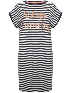 Dory Striped Longline T-Shirt Nightie in Eclipse Blue - Tokyo Laundry