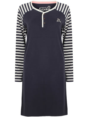 Dotty Striped Raglan Long Sleeve Nightie in Eclipse Blue - Tokyo Laundry
