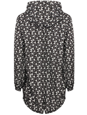 Dragonboat Tesselation Print Hooded Rain Coat In Black/White - Tokyo Laundry
