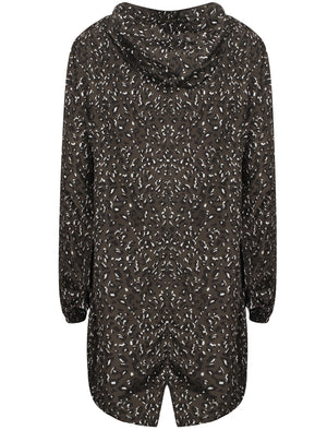 Dragonboat Leopard Print Hooded Rain Coat In Khaki - Tokyo Laundry