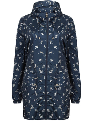 Dragonboat Floral Print Hooded Rain Coat In Navy - Tokyo Laundry