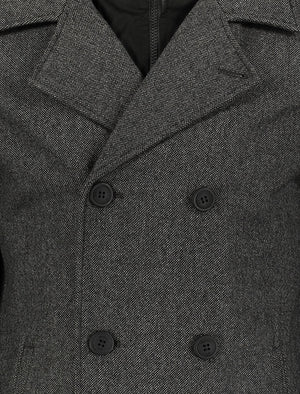 Duval Herringbone Double Breasted Pea Coat In Grey Oxford - Toyo Laundry