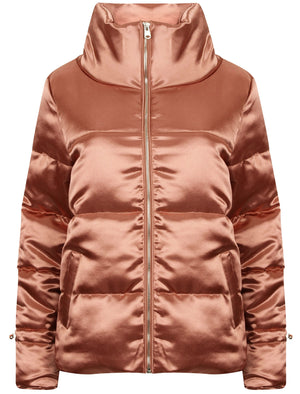 Edona Satin Quilted Puffer Jacket in Dusky Pink - Tokyo Laundry