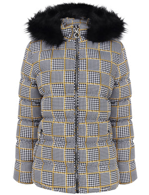 Empire 3 Houndstooth Printed Puffer Jacket with Faux Fur Trim Hood in Black / Gold - Tokyo Laundry
