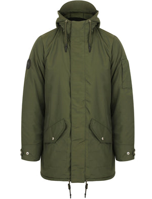 Eskell Hooded Parka Coat with Quilted Lining In Khaki - Tokyo Laundry