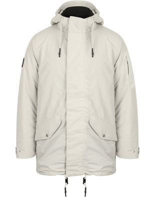 Eskell Hooded Parka Coat with Quilted Lining In Stone - Tokyo Laundry