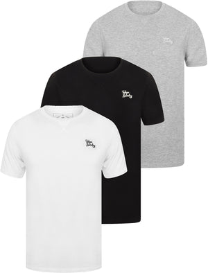 Essentials (3 Pack) Crew Neck Cotton T-Shirts In Jet Black / Bright White / Light Grey Marl - Tokyo Laundry