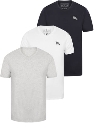 Essentials (3 Pack) V Neck Cotton T-Shirts In Bright White / Heather Grey Marl / Iris Navy - Tokyo Laundry