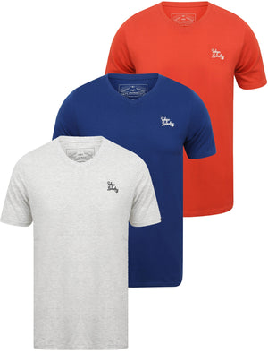 Essentials (3 Pack) V Neck Cotton T-Shirts In Washed Red / Sodalite Blue / Ice Grey Marl – Tokyo Laundry