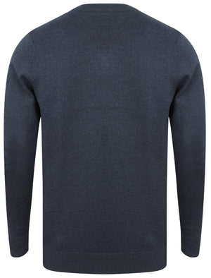 Expanse Cotton V Neck Jumper In Dark Denim Marl - Tokyo Laundry