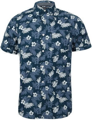 Fermont Tropic Floral Print Short Sleeve Shirt In Sailor Blue – Tokyo Laundry