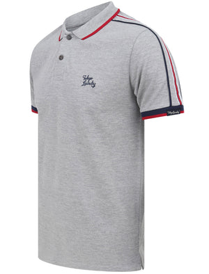 Finley Point 2 Cotton Piqué Polo Shirt with Tape Detail In Light Grey Marl – Tokyo Laundry