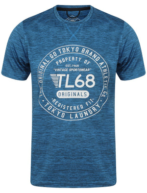 Fitchburg Reflective Motif T-Shirt In Seaport Blue - Tokyo Laundry Active