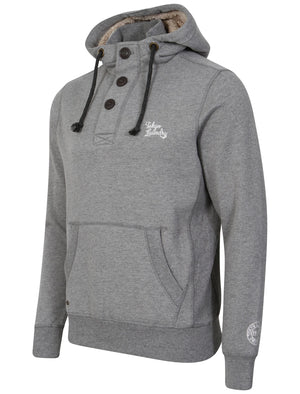 Fox Creek Layered Pullover Hoodie with Borg Lined Hood in Mid Grey Marl - Tokyo Laundry