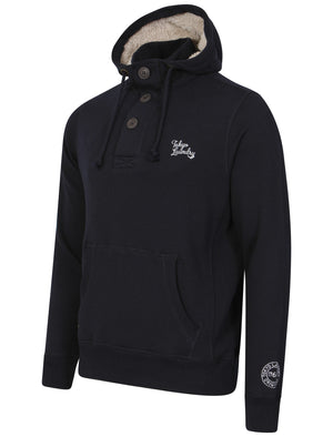 Fox Creek Layered Pullover Hoodie with Borg Lined Hood in Dark Navy - Tokyo Laundry