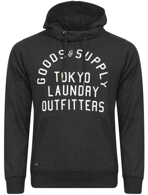 Franklin Valley Cowl Neck Pullover Hoodie in Charcoal Marl - Tokyo Laundry
