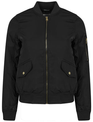 Georgie Zip Up Bomber Jacket in Black - Tokyo Laundry