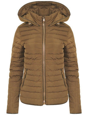 Ginger Quilted Hooded Jacket in Otter - Tokyo Laundry