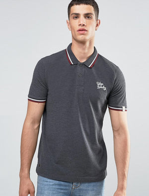 Goodwin Point Stripe Collar Polo Shirt in Charcoal Marl – Tokyo Laundry