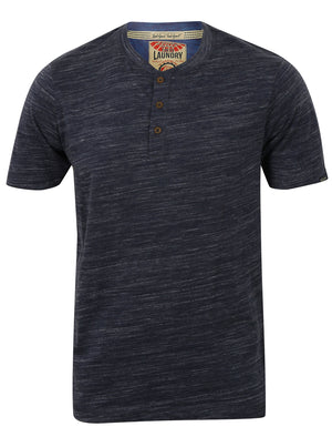 Greville Space Dye Henley T-Shirt in Mood Indigo / Ivory - Tokyo Laundry