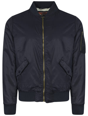 Gwydir Borg Lined Bomber Jacket in Dark Navy - Tokyo Laundry