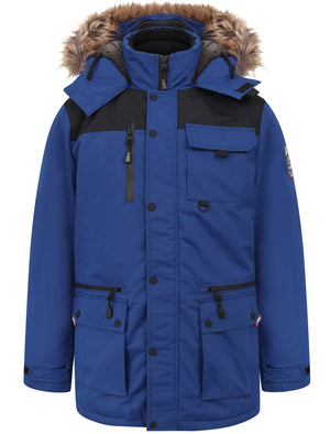 Haakon Colour Block Utility Parka Coat with Faux Fur Lined Hood in Sodalite Blue - Tokyo Laundry