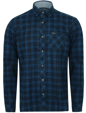 Hadleigh Checked Cotton Flannel Shirt In Estate Blue - Tokyo Laundry