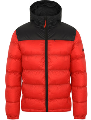 Hakim Colour Block Quilted Puffer Jacket with Hood In Red - Tokyo Laundry