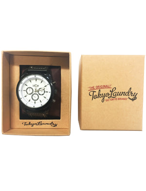 Harris Chronograph Dial Analogue Watch in Black / White - Tokyo Laundry