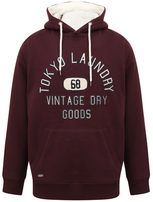 Harrisville Applique Pullover Hoodie with Borg Lined Hood In Vintage Wine – Tokyo Laundry