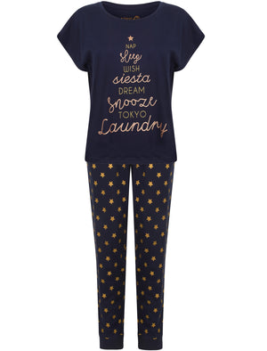 Hatter Glitter Cotton Jersey 2pcs Lounge Set In Navy – Tokyo Laundry