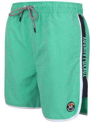 Haunani Runner Swim Shorts with Side Panels In Marine Green – Tokyo Laundry