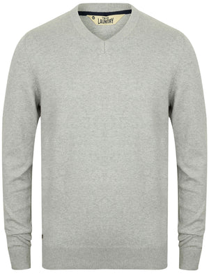 Havas V Neck Knitted Jumper in Light Grey Marl – Tokyo Laundry