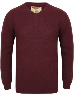 Hawes V Neck Lambswool Rich Knitted Jumper in Light Oxblood – Tokyo Laundry