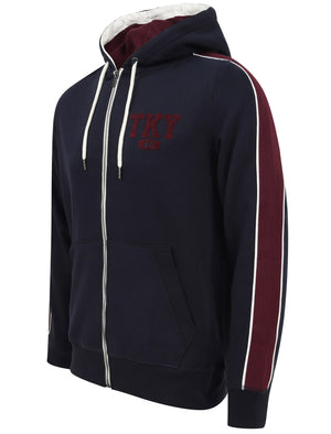 Hennessey Zip Through Hoodie With Tape Sleeve Detail In Navy – Tokyo Laundry