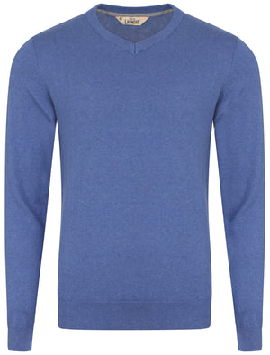 Heppleston V-neck Cotton Jumper in Blue Marl - Tokyo Laundry