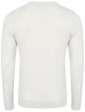 Heppleston V-neck Cotton Jumper in Oatmeal Marl - Tokyo Laundry