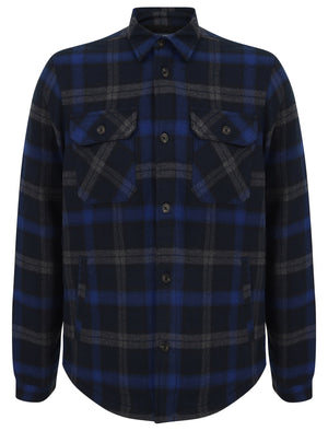 Herrick Borg Lined Checked Brush Flannel Overshirt Jacket in Blue Depths - Tokyo Laundry