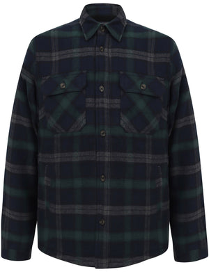 Herrick Borg Lined Checked Brush Flannel Overshirt Jacket in Green - Tokyo Laundry