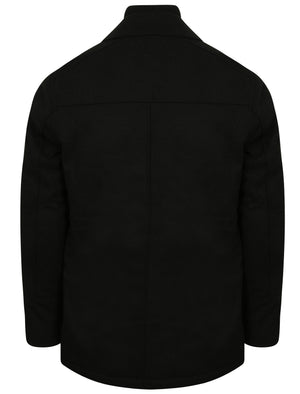 Hexacode Wool Blend Double Breasted Mock Insert Coat in Black – Tokyo Laundry